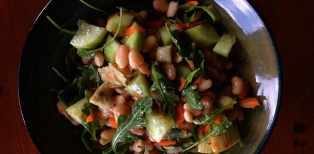 White Bean & Arugula Salad with Tarragon & Wine Vinaigrette