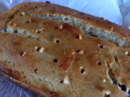 Poking holes in a Lemon-blueberry Loaf