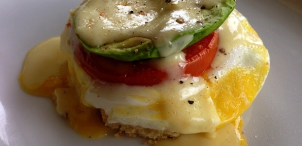 Tomato-Avocado Eggs Benedict