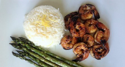 Fire-Roasted Jamaican Rum Shrimp with Lemon Rice