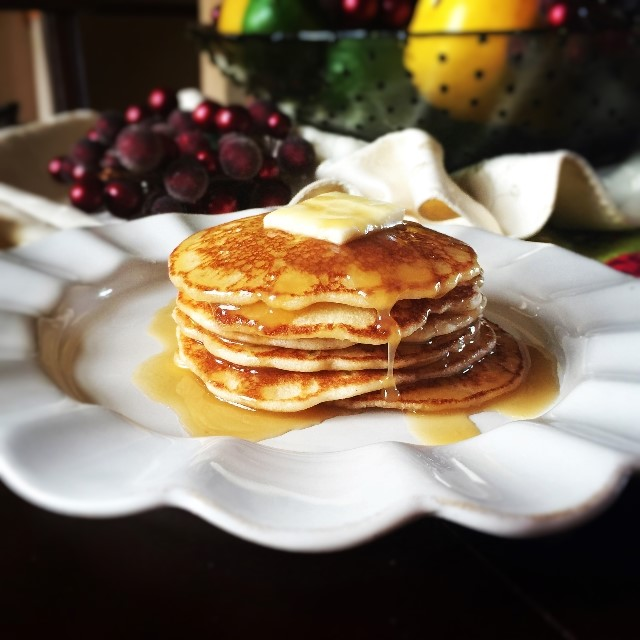 Gluten Free pancakes with Southern Eggnog Syrup