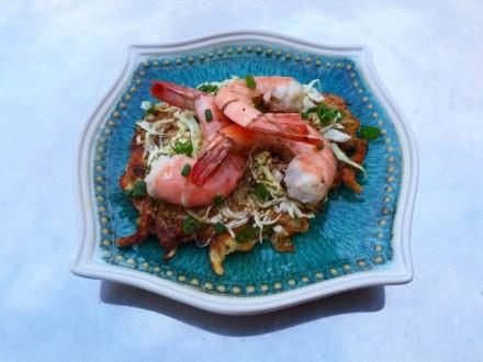 Savory Pancake with Asian Slaw & Shrimp