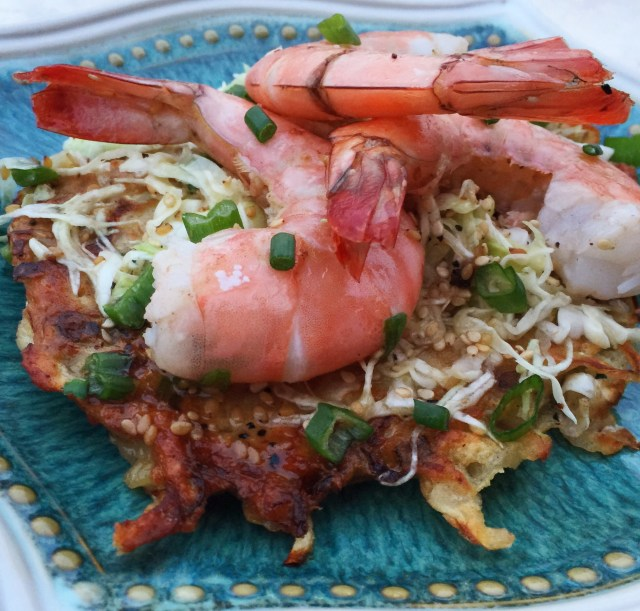 Savory pancakes, Asian Slaw, and Shrimp is Yum on a Plate