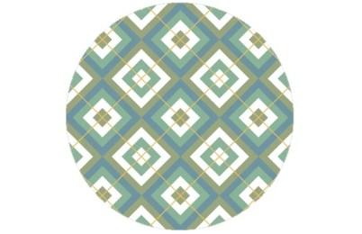 Grafische Diamant Tapete grün blau mit Karo - gelb - angepasst an Farrow and Ball Babouche