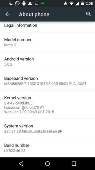 Motorola Moto G mit Android 5.0.2 Lollipop