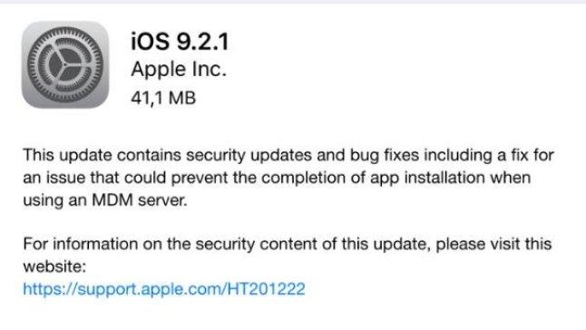 Es gibt wieder ein Sicherheitsupdate für iOS 9
