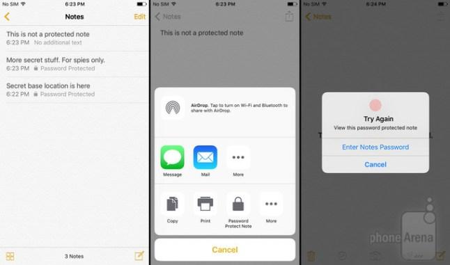 iOS 9.3 Notes App