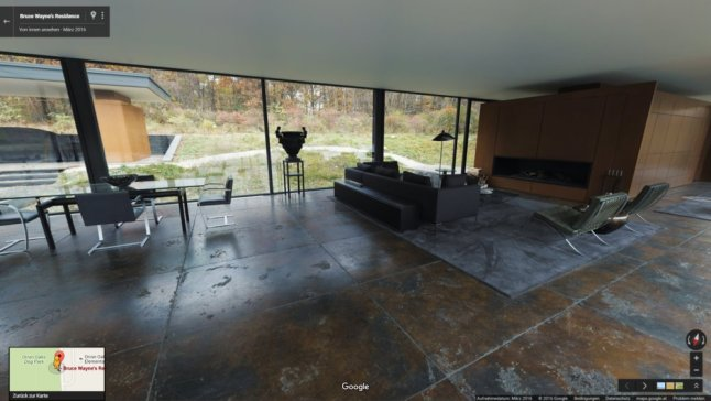 Batcave in Google Maps StreetView