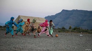 Girls play Football in Sistan va Baluchistan, Iran.