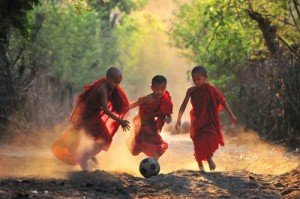 Surreal monastery soccer
