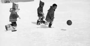 Inuta children are playing in Northern Canada