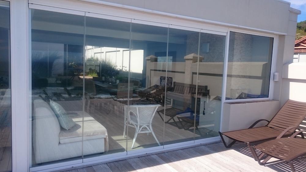 Fold aside glass sliding door