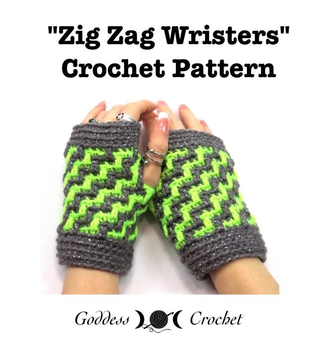 Free Crochet Pattern For Zig Zag Scarf : New Crochet Pattern ? Zig Zag Wristers Fingerless Gloves ...