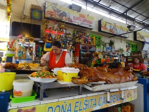 Eating at the market in Cuenca, Ecuador
