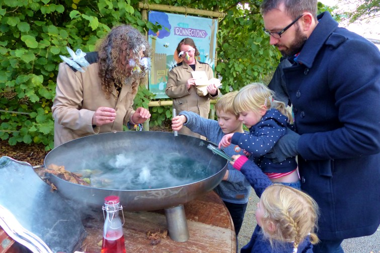 Pouring all the magic potion into the pot at The Enchantment of Chester Zoo