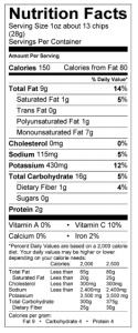 Kettle Brand Potato Chips Nutritional Data