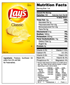 Lay's Potato Chips Nutrition Data