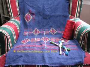 Back panel of a Cross stitch and applique Palestinian Coat by GoldenCircleDesigns