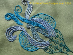 Running stitch embroidery sample