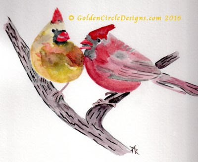 Cardinals – Sketch in Inktense