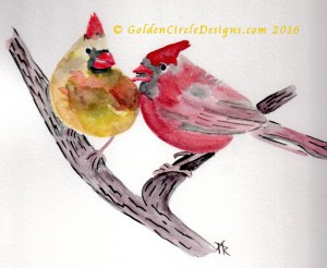 Cardinals birds sketch - plan for needlepainting