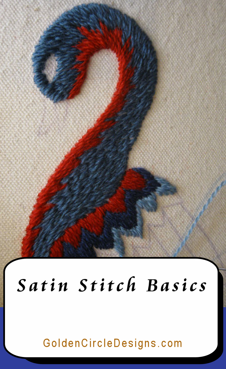 Satin Stitch in the feathers. Learn Satin Stitch - it's deceptively simple.
