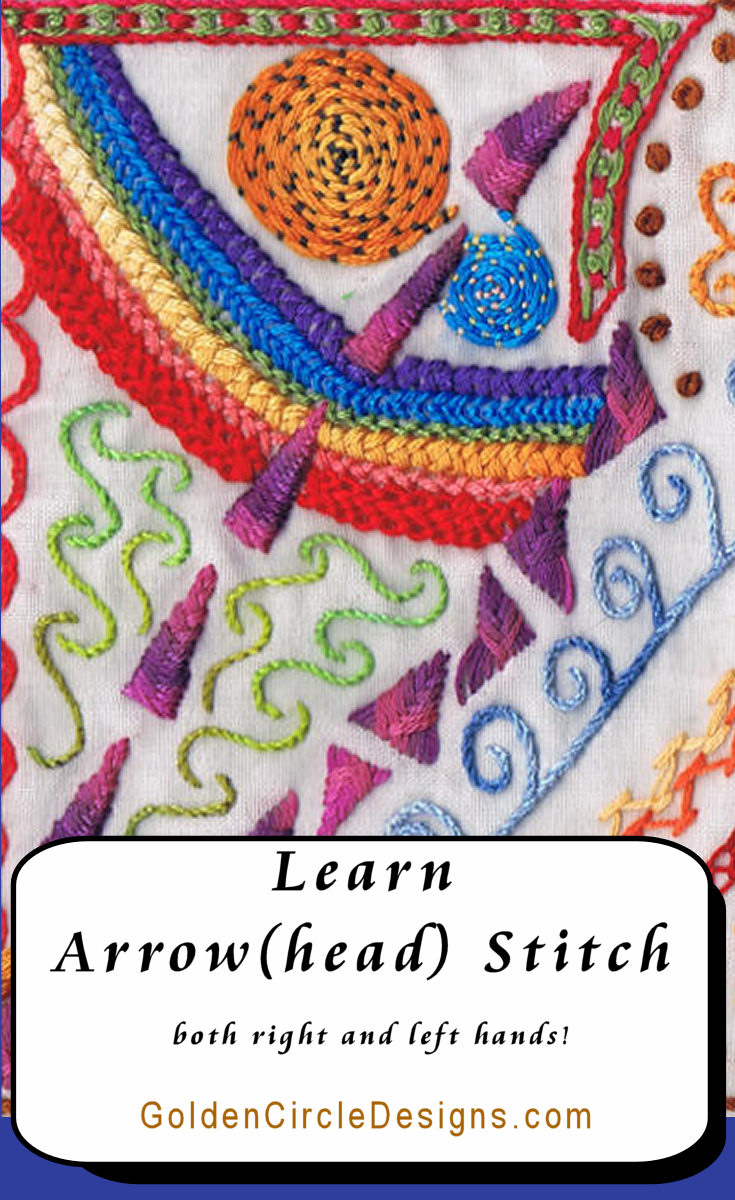 Arrow Stitch (or Arrowhead stitch) is a really easy stitch to bring some interest to your borders and leaves.
