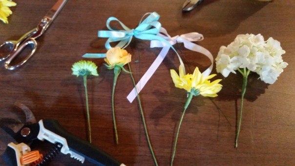 learning to wrap wire and flower stems