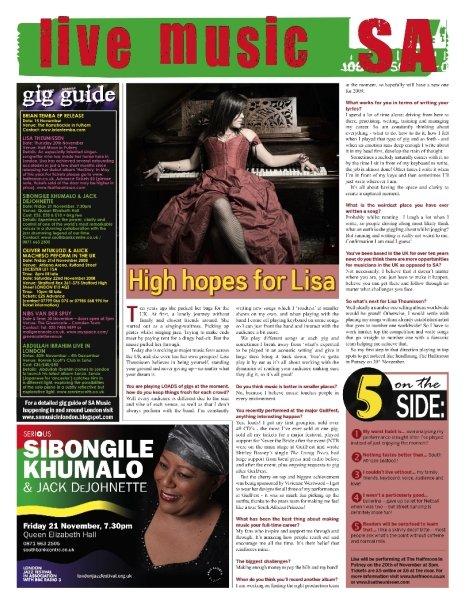 UK 2006-2010, Press - Live Music SA