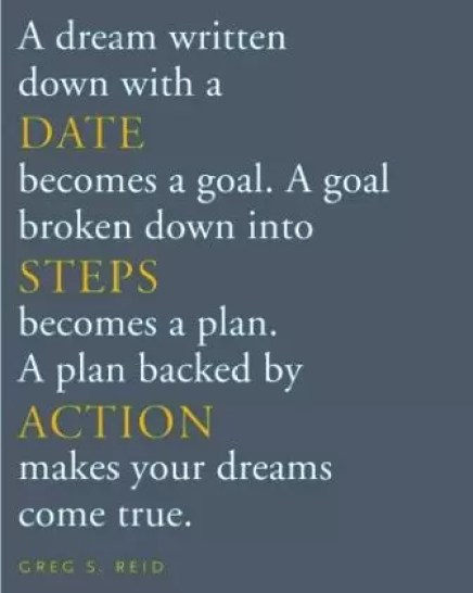 A goal broken down into steps becomes a plan. A plan backed by action makes your dreams come true