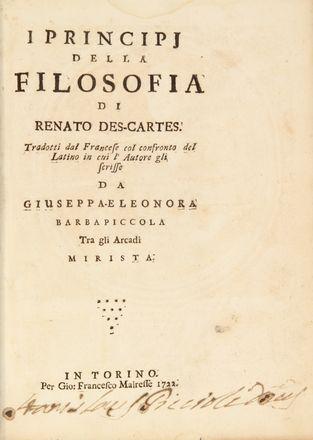 Descartes René : I principi della filosofia di Renato Des-Cartes. Tradotti dal francese col ...
