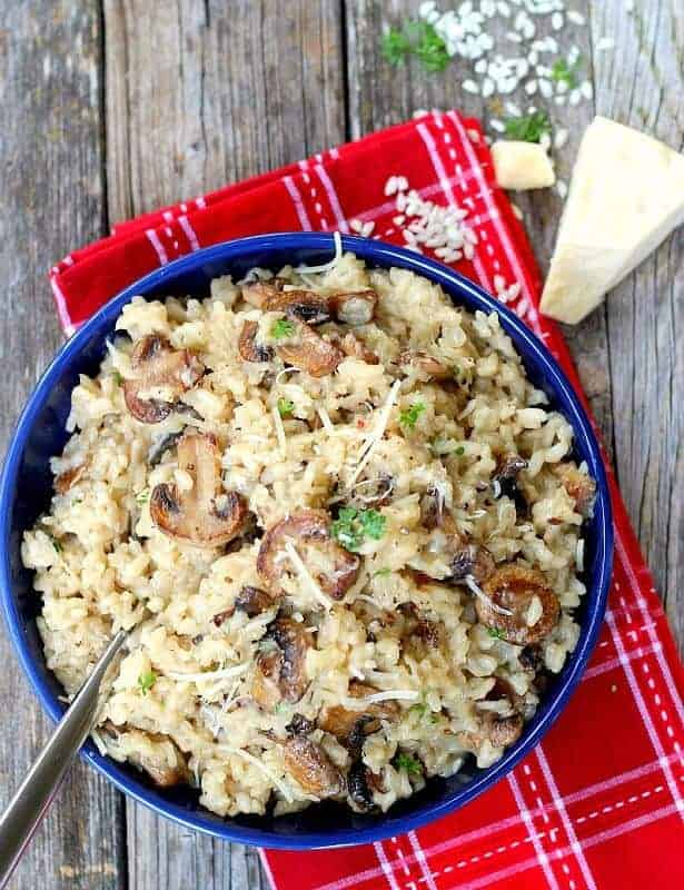 This is the perfect, easy mushroom risotto recipe. Fool-proof simple, perfect meatless main dish or side. Company worthy, easily adapted for a vegan main dish as well.