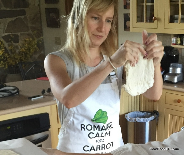 Shaping pizza dough for cob oven