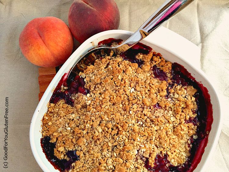 further ado, here is how to make a gluten-free blueberry peach crisp ...