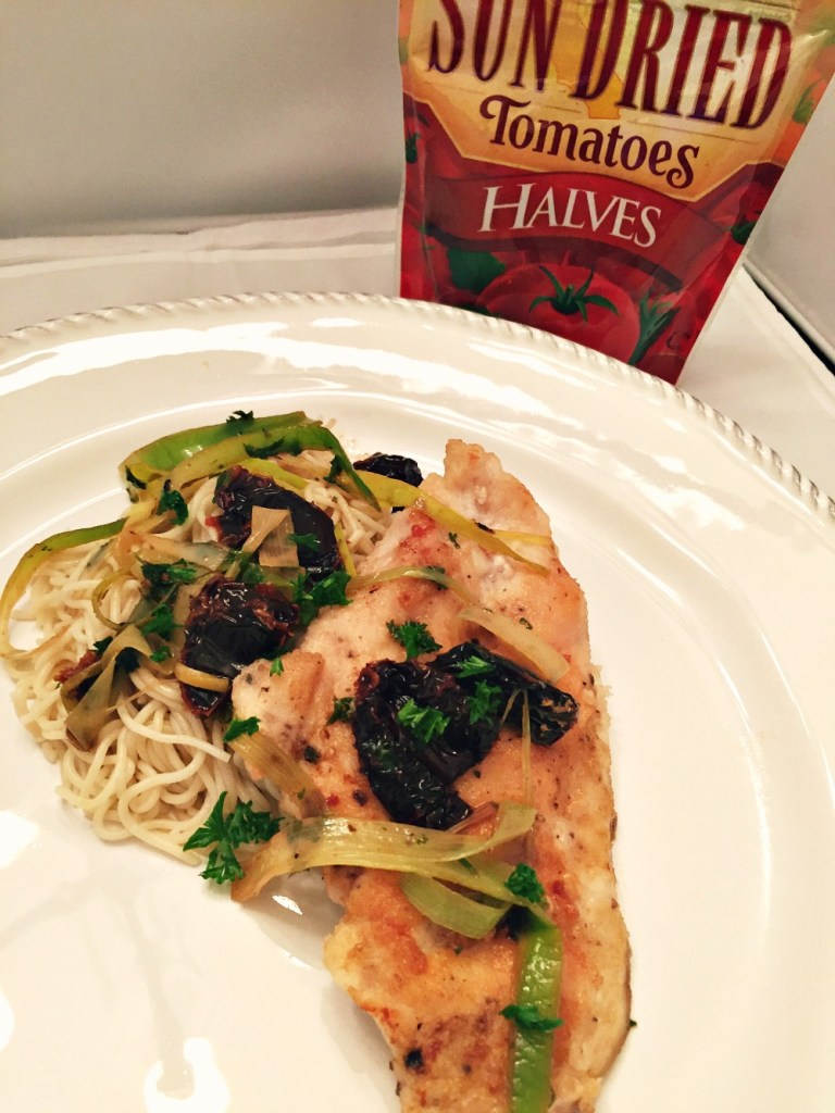 GF Chicken with Sun Dried Tomatoes, Leeks and White Wine Sauce