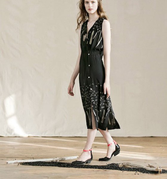 "Feral Childe's Rake Dress featuring their custom ""Sticks and Stones"" graphic print"