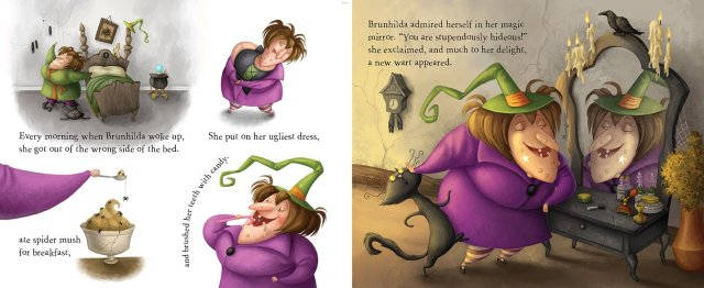 Interior artwork of Brunhilda the witch from Brunhilda's Backwards Day
