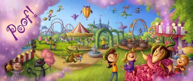 Interior artwork of magical playground in Brunhilda's Backwards Day