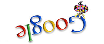 Google logo abducted by alients in UFO - Google Doodle by Ian D. Marsden
