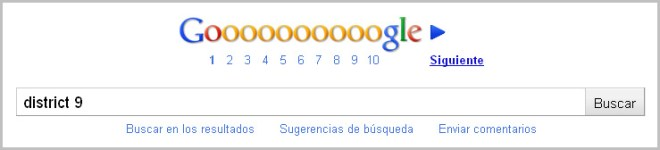 "Búsqueda de ""District 9"" en Google"