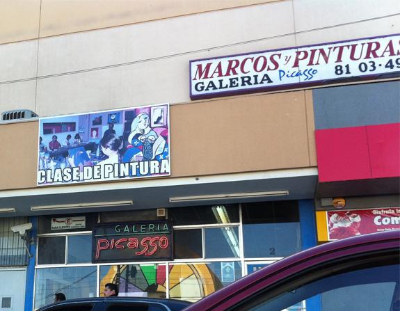 Marcos y pinturas Picasso, en Tijuana