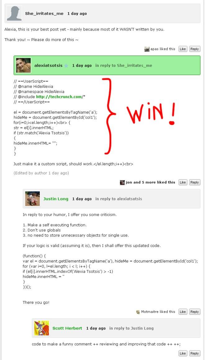 Comentario escrito con código