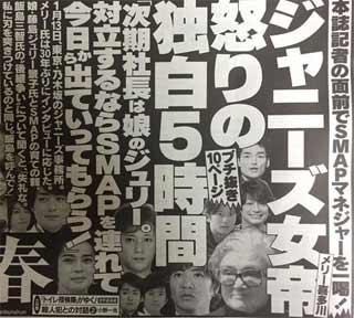 週刊文春のインタビュー メリー喜多川