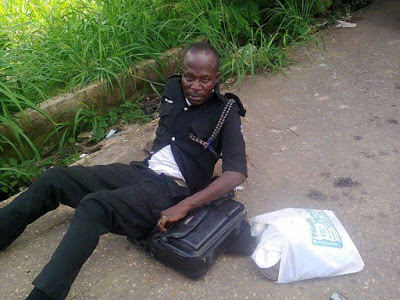 Policeman Urinates And Excretes On Himself After Drinking To Stupor In Ekiti State (Photo)