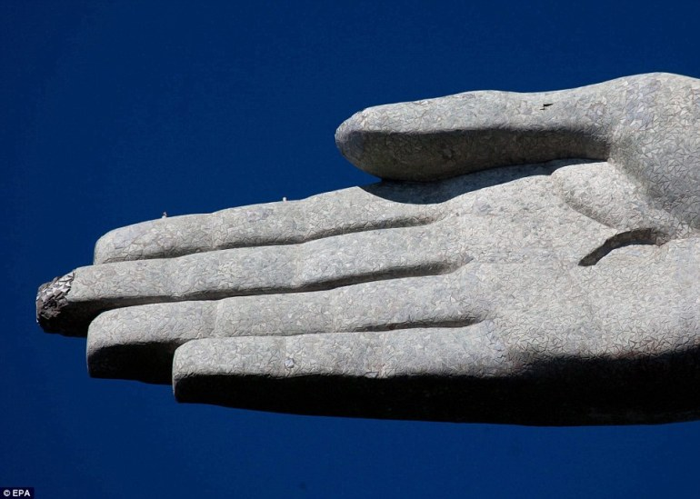 The Damaged Hand of the Christ The Redeemer Statue