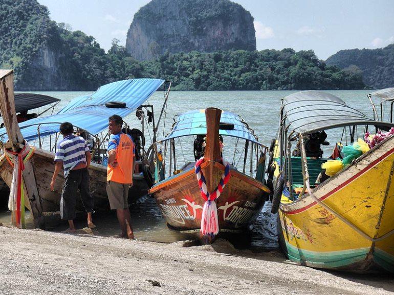Long Tail Boats at James Bond Island - Phang Nga Bay, Thailand