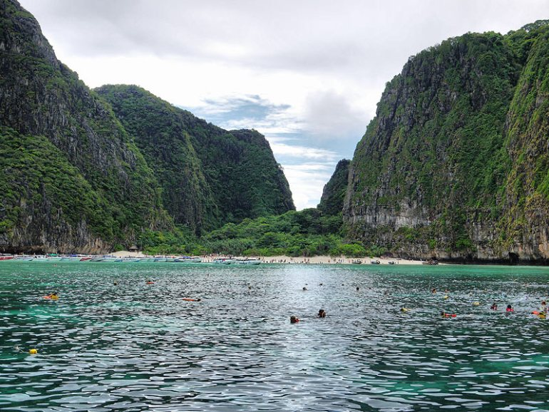 Swimming by The Beach at Maya Bay (Phi Phi Islands) - Krabi, Thailand