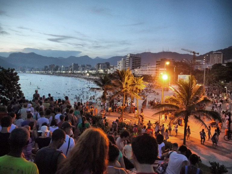 A Crowded Evening in Ipanema by the Beach