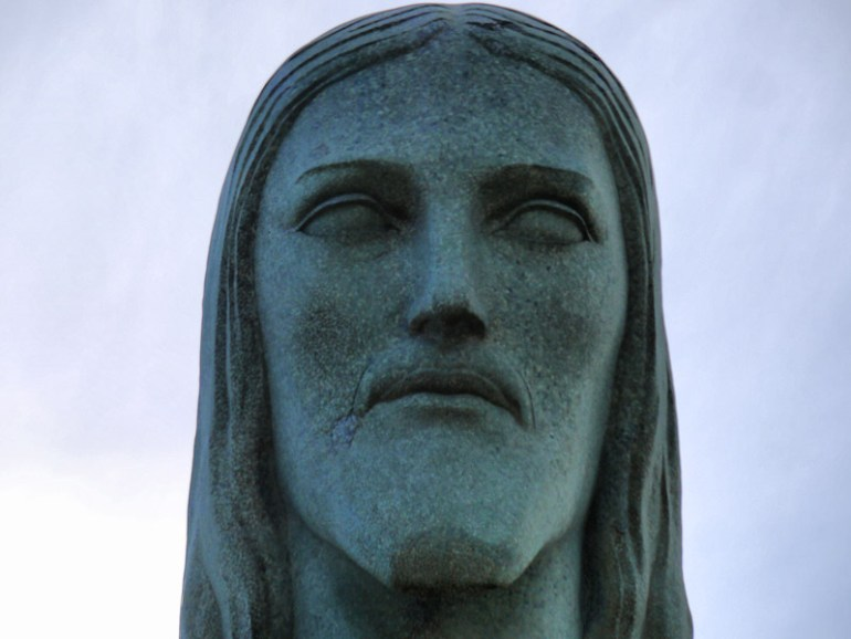 The Face of Christ the Redeemer Close Up - Zoomed In