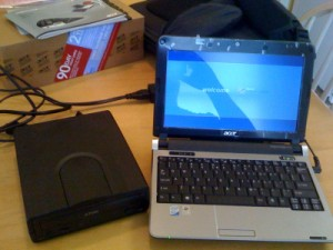 Acer Aspire next to my CD drive